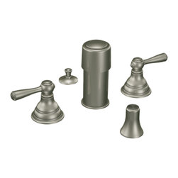 """Moen - Moen T5210AN Antique Nickel Bidet Faucet Trim Two Lever Handle 8""""-16"""" Center - Moen T5210AN is part of the Kingsley Bath collection. Moen T5210AN is a new style bathroom, Bidet faucet trim. Moen T5210AN has an Antique Nickel finish. Moen T5210AN two handle widespread Bidet faucet mounts in a 3-hole 8"""" - 16"""" Center bidet. Moen T5210AN two handle widespread trim requires Moen's 9200 MPact Bidet Rough-in valve to make this faucet complete. Moen T5210AN is part of the Kingsley bath collection with its traditional style combining classic antique look, with modern luxury. This collection delivers the best of both worlds. Moen T5210AN is not recommended for non-rim flush fixtures. Moen T5210AN two lever handle provides ease of operation. Antique Nickel is a new finish from Moen and provides style and durability. Moen T5210AN metal lever handle meets all requirements ofADA ICC/ANSI A117.1 and ASME A112.18.1/CSA B125.1, NSF 61/9 and proposition 6"""". Water Sense Certified. Lifetime limited Warranty."""