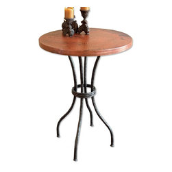 "Mathews & Company - Woodland 40"" Bar Table with 30"" Round Top - Our Woodland 40"" bar table not only displays beauty but encapsulates beauty itself. It can even be used practically for a breakfast nook table or simply to show off some home decor. The Woodland bar table is supported by four iron legs that are hand wrought by talented artisans. Several different table tops can be used to accent the iron legs. Choose a table top from among a warm and artsy copper, a homey and natural pine, or a formal and artistic marble. Pictured in Copper top and Black finish."