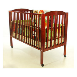 Dream On Me - Full Size Folding Crib - Dream On Me, Folding Full Size Crib is the only 2 position folding crib available making it a must have piece of furniture for any growing family. When your child outgrows the crib simply fold flat using the patented folding system and store. This crib is ready to use again by simply unfolding and locking into place making it perfect for guests with babies, grandparents and daycares. The stationary rail design (non drop side), dual safety hooded locking wheels and a beautiful non-toxic finish ensure safe use now and in the future. Dream On Me Standard Mattress, sold separately. Features: -Made of pine.-2 Position folding crib available.-Stationary (non drop side) rail design.-Dual safety, hooded locking wheels.-Mattress sold separately.-Makes folding easy for flat, convenient storage when not in use.-This is a NON-Drop Side crib.-Non-toxic finish.-Full Size Folding Crib Collection.-Collection: Full Size Folding Crib.-Distressed: No.Dimensions: -46'' H x 31'' W x 54'' D, 46 lbs.-Overall Product Weight: 46 lbs.Warranty: -30 Days manufacturer's warranty.