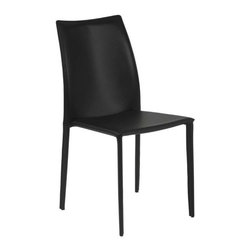 Eurostyle - Eurostyle Dalia Leather Stackable Side Chair w/ Steel Frame in Black [Set of 4] - Leather Stackable Side Chair w/ Steel Frame in Black belongs to Dalia Collection by Eurostyle To look at the Dalia chair, not to mention sitting in it, you would never expect this piece to offer the convenience of stacking. It's completely covered in leather and makes having a stack of fabulous chairs ready to go, a reality. Side Chair (4)