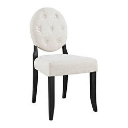 LexMod - Button Dining Side Chair in Beige - Playing off whimsical spatial elements, this polyester upholstered chair gives transparency a home. Bring light-filled moments inward with an inner sense of laughter and delight. With its padded fine beige polyester seat and black solid hardwood legs, sit fancifully as you uncover yet greater horizons.