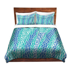 DiaNoche Designs - Duvet Cover Microfiber - Flying Feathers - DiaNoche Designs works with artists from around the world to bring unique, artistic products to decorate all aspects of your home.  Super lightweight and extremely soft Premium Microfiber Duvet Cover (only) in sizes Twin, Queen, King.  Shams NOT included.  This duvet is designed to wash upon arrival for maximum softness.   Each duvet starts by looming the fabric and cutting to the size ordered.  The Image is printed and your Duvet Cover is meticulously sewn together with ties in each corner and a hidden zip closure.  All in the USA!!  Poly microfiber top and underside.  Dye Sublimation printing permanently adheres the ink to the material for long life and durability.  Machine Washable cold with light detergent and dry on low.  Product may vary slightly from image.  Shams not included.