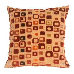 Pillow Decor - Pillow Decor - Window Box in Red Wine Throw Pillow - Soft chenille boxes in rich red, muted orange, muted rose, pale grayish mauve, gold and black on a fabric of soft rich gold. Flecks of red are woven in to the background fabric. You'll be inspired to decorate your room around this pillow!