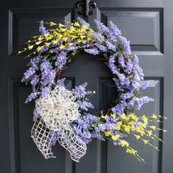 Lavender Forsythia Wreath by HomeHearthGarden - This absolutely gorgeous Lavender Wreath is handcrafted with artificial Lavender flowers. Finishing touches include Forsythia, lavender berry sprigs, and a beautiful jute bow.