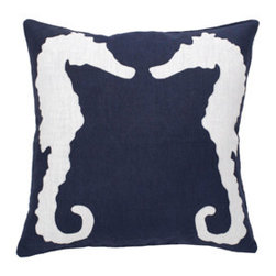 Navy Seahorse Pillow - I just love this seahorse pillow in navy and white. Place it on a gray sofa or in a white chair — better yet, add it to your collection of pillows on your bed.