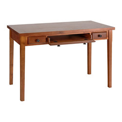 Holly & Martin - Jackson Desk, Mahogany - Simple yet classic styling makes this desk the perfect addition to your home. With a slide out keyboard tray and a small pen drawer on either side, this convenient desk is the perfect solution for writing or computer space in any room. Crafted with solid birch hardwood legs, a birch veneer top, and gun metal gray hardware, you are sure to enjoy countless years of enjoyment from such a classically beautiful piece.
