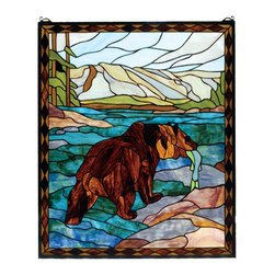 Meyda Tiffany - Meyda Tiffany Catch of the Grizzly Window X-43927 - From the Catch of the Grizzly Collection, this Meyda Tiffany window features a beautiful nature scene with a bear effortlessly catching his lunch in the river. The river features beautiful shades of blue green that highlight the chocolate brown coloring of the bear. A mountain backdrop, rocky shore and green trees complete the look.