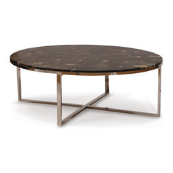 Palecek - Petrified Wood Black Coffee Table - Legally harvested petrified wood hand-cut and inlaid in mosaic patterns. Stainless steel legs. Each stone is unique and will vary in pattern and color. Some cracking is natural. Petrified wood will stain.