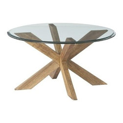 """Gwenieve Cocktail Table - A nicely beveled round piece of glass that sits on top of a clever """"jack-like"""" solid wood base that has been sand-blasted then waxed."""