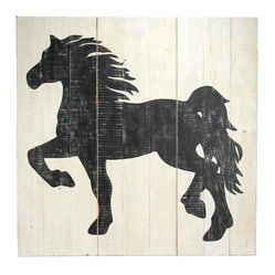 Zentique - Horse Board - Life is grand when you can run free and let the wind blow through your mane. This eye-catching piece, assembled from three separate sections of wood, adds a carefree touch to your home. Perfect for a child's playroom or to bring a whimsical touch to your living room, bedroom or office.
