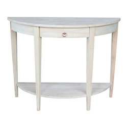 None - Half-moon Unfinished Modern Console Table - Create your own unique home accent piece with this unfinished console table. Easily painted or stained to reflect your personal tastes,this simple half moon table is supported by modern tapered legs and includes a wooden-glide drawer for storage.