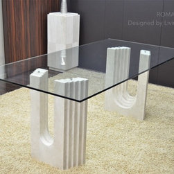 "ROMA 79""x39""x29"" TRAVERTINE MARBLE GLASS DINING TABLE - Reference: DT105+DT105GLASS"