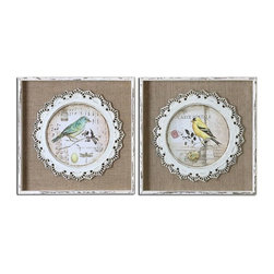 Uttermost - Bird Stamps Framed Art Set of 2 - The bird prints are applied over the loosely woven burlap mats then surrounded by the decorative, scalloped detailing that is made of metal and finished in white.