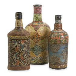 Imax Worldwide Home - 3-Pc Circus Bottles - Includes small, medium and large bottles. Versatile painted designs. Made from 65% glass, 30% terracotta and 5% cork. Made in India. Small: 3.75 in. Dia. x 9.25 in. H. Medium: 3 in. L x 4 in. W x 9.50 in. H. Large: 5 in. Dia. x 10.5 in. H. Weight: 8.8 lbs.