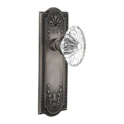 Nostalgic - Nostalgic Mortise-Meadows Plate-Oval Fluted Crystal Knob-Antique Pewter - The antique pewter Meadows Plate, with its intricate beaded detailing and botanical flourishes, creates an inspired design theme. Combined with our Oval Fluted Crystal Knob (24 individual hand-ground facets!), the look is elegant, but never fussy. All Nostalgic Warehouse knobs are mounted on a solid (not plated) forged brass base for durability and beauty.