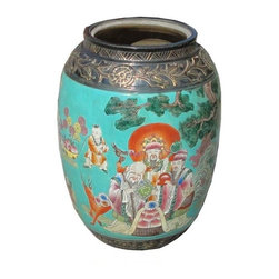 Golden Lotus - Chinese Porcelain Blue Base Three Gods Kids Scenery Vase - This is nicely hand-painted multi-color ceramic vase. The theme is the traditional Chinese 3 Gods - fame, fortune and longevity. The top and bottom is in black base color and golden floral relief motif.