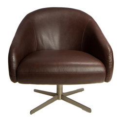 Cortesi Home - Savoye Swivel Chair - The modern Savoye Club Chair is minimal in design but high in comfort. It features a swivel base in a matte steel finish that allows for full 360 degree turns. The material is a high quality vinyl in a dark chestnut brown; foam cushioning and a wooden frame complete the barrel design.