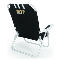 """Picnic Time - University of Pittsburgh Monaco Beach Chair Black - The Monaco Beach Chair is the lightweight, portable chair that provides comfortable seating on the go. It features a 34"""" reclining seat back with a 19.5"""" seat, and sits 11"""" off the ground. Made of durable polyester on an aluminum frame, the Monaco Beach Chair features six chair back positions and an integrated cup holder in the armrest. Convenient backpack straps free your hands so you can carry other items to your destination. Rest and relaxation come easy in the Monaco Beach Chair!; College Name: University of Pittsburgh; Mascot: Panthers; Decoration: Digital Print"""