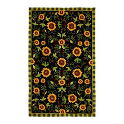 Homefires - Contemporary Sunflowers On Black 5'x7' Rectangle Black Area Rug - The Sunflowers On Black area rug Collection offers an affordable assortment of Contemporary stylings. Sunflowers On Black features a blend of natural Black color. Hand Hooked of Polyester the Sunflowers On Black Collection is an intriguing compliment to any decor.