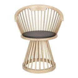 Tom Dixon - Fan Dining Chair by Tom Dixon - The dramatic Windsor-inspired silhouette and comfort of the Fan Chair, designed especially for the dining room. While a bit more compact that the original lounge chair, the Tom Dixon Fan Dining Chair has the same splayed array of machined wood spindles, curved wood back and round base with black leather seat pad. Tom Dixon has a vast commitment to design creativity and a mission to redefine how products are made and sold. The Tom Dixon lighting and furniture collections reflect all of his cutting-edge design and manufacturing innovations, from the product's shape and form to the raw materials and production processes used.