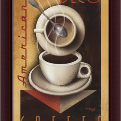 Amanti Art - Americana Deco Coffee Framed Canvas by Michael Kungl - Perk up your kitchen with this retro-inspired artwork. The bold colors, geometric shapes and clean lines of this fun print — by artist Michael Kungl — evoke images of diners from days past. You'll love the fresh-brewed feel it gives your kitchen.