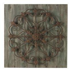 Sterling - Sterling 26-8680 Meridianmetal Scroll On Distressed Wood Wall Panel - Sterling 26-8680 Meridianmetal Scroll On Distressed Wood Wall Panel
