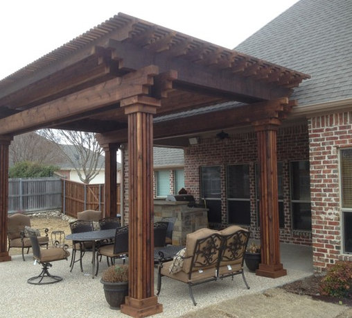 Shop rustic pergolas arbors trellises on houzz for Pergola images houzz