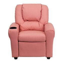 "Flash Furniture - Contemporary Pink Vinyl Kids Recliner with Cup Holder and Headrest - Kids will now be able to enjoy the comfort that adults experience with a comfortable recliner that was made just for them! This chair features a strong wood frame with soft foam and then enveloped in durable vinyl upholstery for your active child. Choose from an array of colors that will best suit your child's personality or bedroom. This petite sized recliner is highlighted with a cup holder in the arm to rest their drink during their favorite show or while reading a book.; Child's Recliner; Overstuffed Padding for Comfort; Oversized Headrest with Additional Headrest Cover Included; Pink Vinyl Upholstery; Easy to Clean Upholstery with Damp Cloth; Cup Holder in armrest; Solid Hardwood Frame; Raised Black Plastic Feet; Intended use for Children Ages 3-9; 90 lb. Weight Limit; Meets or Exceeds CA117 Fire Resistance Standards; Safety Feature: Will not recline unless child is in seated position and pulls ottoman 1"" out and then reclines; Assembly Required: Yes; Country of Origin: China; Warranty: 2 Years; Weight: 17.5 lbs.; Dimensions: 27""H x 24""W x 21.5 - 36.5""D"