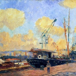 """Albert Lebourg Steamers and Barges in the Port of Rouen Print - 16"""" x 24"""" Albert Lebourg Steamers and Barges in the Port of Rouen, Sunset premium archival print reproduced to meet museum quality standards. Our museum quality archival prints are produced using high-precision print technology for a more accurate reproduction printed on high quality, heavyweight matte presentation paper with fade-resistant, archival inks. Our progressive business model allows us to offer works of art to you at the best wholesale pricing, significantly less than art gallery prices, affordable to all. This line of artwork is produced with extra white border space (if you choose to have it framed, for your framer to work with to frame properly or utilize a larger mat and/or frame).  We present a comprehensive collection of exceptional art reproductions byAlbert Lebourg."""