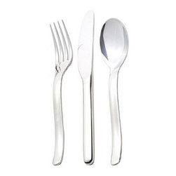 Christofle - Christofle Stainless Tenere 30-Piece Set Includes 6x5-Pc Place Settings + Case - Christofle Stainless Tenere 30-Piece Set Includes 6x5-Piece Place Settings + Case