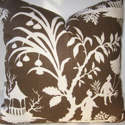 Robert Allen Crystal Lake Chinoiserie Pillow Cover, Brown/Amber by Playpurdys - Mix in some chinoiserie pillows with ikat for a cool yet classic look.