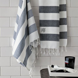Hammam Stripe Hand Towel - With a new marriage comes a new name and a new monogram. I plan on monogramming just about every fabric in my home, including the West Elm striped hand towels.