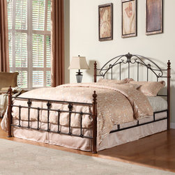 Tribecca Home - TRIBECCA HOME Newcastle Graceful Scroll Bronze Iron King-sized Poster Bed - An artistic blend of cast-iron,the Newcastle metal bed offers versatile styling that complements a wide range of decor. This king-size bed features a beautiful cherry finish.