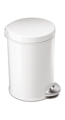 simplehuman - Round Step Can, White Steel - With its small size and durable construction, this 4-1/2-liter trash can is perfect for your bathroom or home office. The easy-to-find pedal opens the top automatically for hands-free operation, and the removable inner bucket makes trash disposal neat and easy.