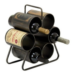 Woodland Imports Space Saver 6 Bottle Wine Rack - Stow your favorite wines in simple style with the Woodland Imports Space Saver 6 Bottle Wine Rack. This traditional piece is crafted of sturdy metal, finished in weathered black and accented by vintage wine labels for a rustic, antique look. This handy storage rack carries up to six wine bottles.