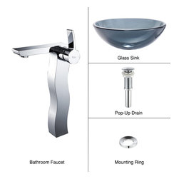 Kraus - Kraus C-GV-104-12mm-14600CH Clear Black Glass Vessel Sink and Sonus Faucet - Add a touch of elegance to your bathroom with a glass sink combo from Kraus
