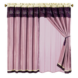 "Grand Park Purple Curtains 2 x Panels 60x84""ea. with Valance, 60x84+18 (2-Panels - Curtain set Includes: 2 Panels 60""Wx84""L + 18"" Attached Valance"