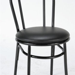 KFI Seating - Round Steel Framed Upholstered Cafe Chair in - Color: BurgundySet of 2 cafe chair. 0.88 in. Round steel frame in black powder-coat. 2 in. Cushion seat. Upholstered in Black. 16.5 in. W x 21.5 in. D x 33.5 in. H