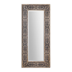 Rustic Fur Wood Mirror with Aged Black Filigree Details - Rustic Fur Wood Mirror with Aged Black Filigree Details