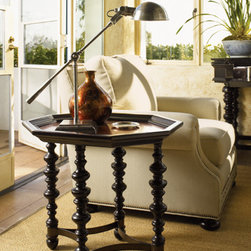 Lexington Home Brands - Plantation Accent Table - The tray-like top offers a touch of the exotic with a hammered copper surface.