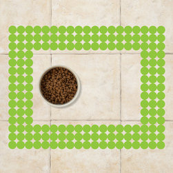 Sniff It Out Designer Pet Mats - Polka-dot Pet Food Mat, Green - Premium-quality clear vinyl mats uniquely designed to resemble beautiful art painted directly onto your floor. The smoothness of the vinyl allows for easy cleanup and lays perfectly flat. Sniff It Out Pet Mats make great gifts and will be a conversation piece that your friends and family won't stop talking about. Made in the USA.