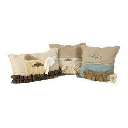 iMax - iMax Teft Burlap Pillow - Set of 3 X-3-17907 - Layering fabrics and textures, this set of three vintage inspired pillows has a classic Parisian feel great for adding dimensions to any seating area.