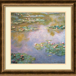 Amanti Art - Claude Monet 'Water Lilies, 1907' Framed Art Print 25 x 24-inch - Another painting from his famous water lily series. Monet's insistence on waiting for the perfect light before painting details rendered shimmering compositions that will forever remain classics.