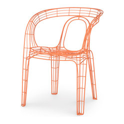 Palecek - Mazatlan Outdoor Chair, Orange - Stacking chair frames available in multiple colors. Hand-welded powder coated frames are suitable for outdoor use.