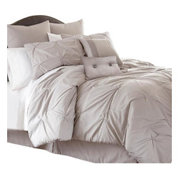 Ella 8-piece Embellished Comforter Set Queen Sand - Comforter sets aren't just for sleeping. They can also be regarded, like armoires and suits of armor, as a practical piece of art for the bedroom. This eight-piece set includes euro shams, decorative pillows, pillow shams, and a tailored bed skirt, not to mention an oversized, overfilled comforter wrapped in 100% polyester.