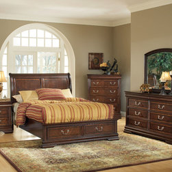"Acme Furniture - Hennessy 5Pc California King Bedroom Set in Brown Cherry - Hennessy 5Pc California King Bedroom Set in Brown Cherry; Set includes bed, nightstand, mirror, dresser and chest; Finish: Brown Cherry; Materials: Poplar Wood, cherry Veneer, MDF, PB, Ply; Ball Bearing Slide Rail, Top Panel: 9mm+9mm MDF Overlay; Side Panel: 9mm PPB +9mm MDF; Drawer Front: 15mmPPB; Drawer Side: 12mm and 9mm for back PLY; Dovetail: French on the front and English at back; Top drawer has Velvet; Bottom Drawer has dust proof (2; Dimensions: Bed: 55""H; Nightstand: 28"" x 17"" x 29""H; Mirror: 45"" x 39""H; Dresser: 62"" x 18"" x 38""H; Chest: 42"" x 18"" x 52""H"