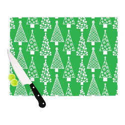 """Kess InHouse - Emine Ortega """"Jolly Trees Green"""" Forest Cutting Board (11.5"""" x 15.75"""") - These sturdy tempered glass cutting boards will make everything you chop look like a Dutch painting. Perfect the art of cooking with your KESS InHouse unique art cutting board. Go for patterns or painted, either way this non-skid, dishwasher safe cutting board is perfect for preparing any artistic dinner or serving. Cut, chop, serve or frame, all of these unique cutting boards are gorgeous."""