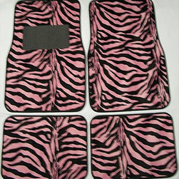 None - Pink and Black Zebra Front and Rear Car Floor Mats - Upgrade your car's interior with heavy-duty floor mats with nibbed backing to prevent slippingAutomotive accessories are universal size fits almost all vehiclesAuto parts are the perfect addition to personalize your car's interior decoration