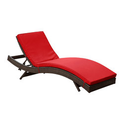 Modway Furniture - Modway Peer Chaise in Brown Red - Chaise in Brown Red belongs to Peer Collection by Modway Don't let moments of relaxation elude you. Peer is a serenely pleasant piece comprised of all-weather cushions and a rattan base. Perfect for use by pools and patio areas, chart the waters of your imagination as you recline either for a nap, good read, or simple breaths of fresh air. Moments of personal discovery await with this chaise lounge that has fold away legs for easy storage or stackability with other Peer lounges. Set Includes: One - Peer Lounge Chaise Lounge (1)