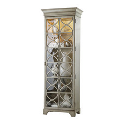 Hooker Furniture - Celeste Display Cabinet - This is like having two display cases in one. Three shelves are glass with wood frames, so your beautiful collections can be seen from top and bottom. Two shelves are wood to store heavier items. The lighted cabinet illuminates your treasures and the slim silhouette fits in any room.